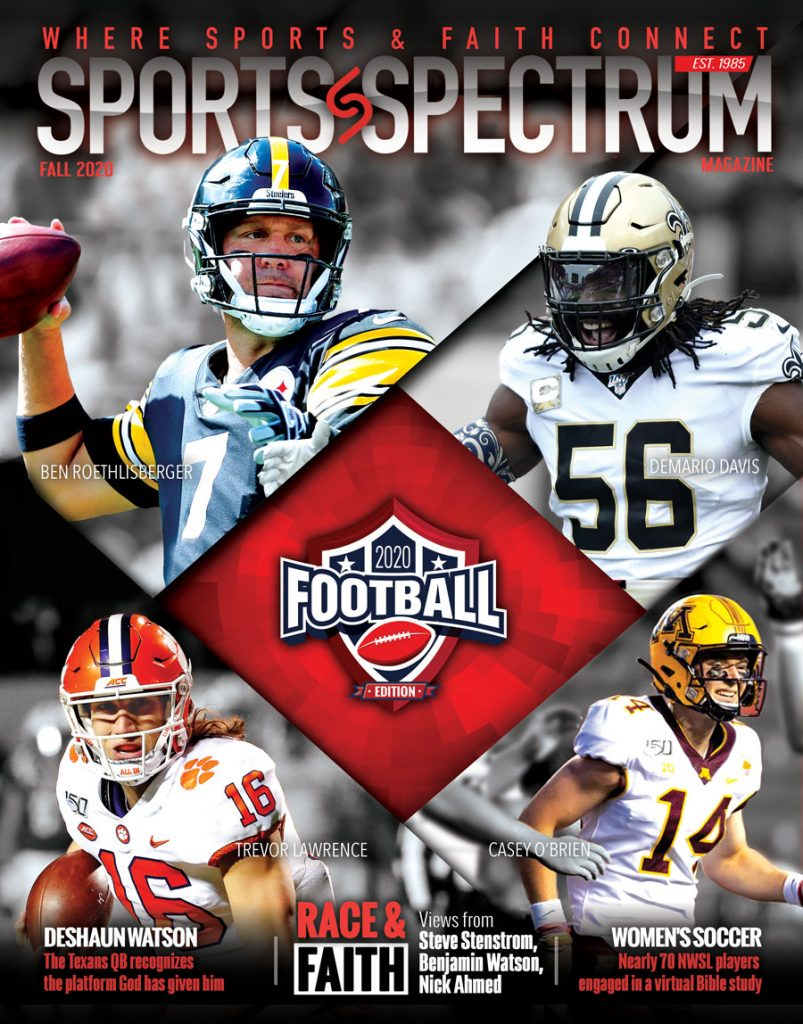 Cover for Sports Spectrum's fall issue shows four football players from various NFL teams.